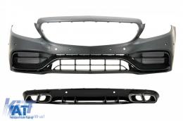 Bara Fata cu Difuzor Spate compatibil cu Mercedes C-Class A205 C205 Coupe Cabriolet (2014-2019) C63 Design - COFBMBW205FAMGBWOGRDS