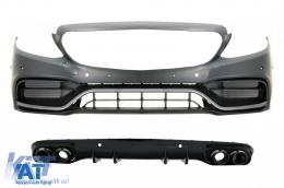 Bara Fata cu Difuzor Spate compatibil cu Mercedes C-Class A205 Cabrio C205 Coupe (2014-2019) Facelift Design Negru Crom - COFBMBW205FAMGWOGB