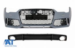 Bara Fata cu Difuzor Spate Negru si Ornamente Evacuare compatibil cu AUDI A7 4G Facelift (2015-2018) RS7 Design Only S-Line - COFBAUA74GFRSWOGRS7B