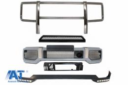 Bara Fata cu Extensie LED DRL Prelungire superioara si BullBar Bare Protectie compatibil cu MERCEDES G-Class W463 (1989-2017) G65 Design - COFBMBW463AMGBBB