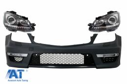 Bara Fata cu Faruri Bi-Xenon compatibil cu Mercedes C-Class W204 Facelift (2012-2014) C63 Design - COFBMBW204AMGFHLFX