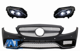 Bara Fata cu Faruri Full LED compatibil cu Mercedes C-Class W205 S205 Limo T-Model (2014-2018) C63 Design - COFBMBW205AMGFX