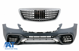 Bara Fata cu Grila Cemtrala Crom compatibil cu MERCEDES S-Class W222 Facelift (2014-06.2017) S63 Design - COFBMBW222AMGS63FMBH