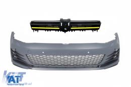 Bara Fata cu Grila Centrala compatibil cu VW Golf 7 VII (5G) (2013-2017) Insertii Galbene - COFGVWG7YFBGTI