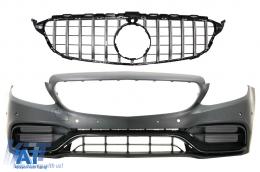 Bara Fata cu Grila Crom compatibil cu Mercedes C-Class W205 S205 A205 C205 (2014-2018) C63 Design - COFBMBW205FAMGBWOGFGN