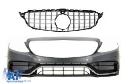 Bara Fata cu Grila cu/fara camera 360 compatibil cu Mercedes C-Class W205 S205 C205 A205 (2014-2018) C63 GT-R Design - COFBMBW205FAMGWOGFG