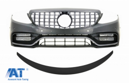 Bara Fata cu Grila cu/fara camera 360 si Eleron portbagaj Negru Mat compatibil cu Mercedes C-Class C205 (2014-2018) C63 GT-R Design