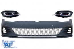 Bara Fata cu Grile Proiectoare ceata LED si Faruri LED compatibil cu VW Golf VII 7.5 (2017-2020) GTI Look - COFBVWG7FGTIHL