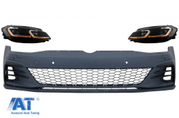 Bara Fata cu Grile Proiectoare ceata LED si Faruri LED compatibil cu VW Golf VII 7.5 (2017-2020) GTI Look RHD - COFBVWG7FGTIHLSRHD