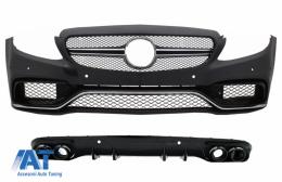 Bara Fata cu Grile si Difuzor Spate compatibil cu MERCEDES C-Class C205 A205 Coupe Cabiolet (2014-2019) C63 Design - COFBMBW205AMGRDB