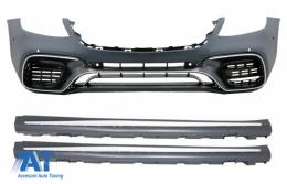 Bara Fata cu Praguri Laterale compatibil cu MERCEDES S-Class W222 Facelift Varianta Lunga (2013-up) S63 Design - COFBMBW222AMGS63FSS