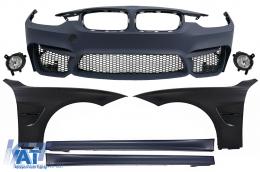 Bara Fata cu Proiectoare de Ceata Praguri Laterale si Aripi Laterale compatibil cu BMW Seria 3 F30 F31 (2011-up) M3 Design - COFBBMF30M3WFLSSFFB
