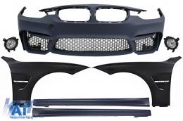 Bara Fata cu Proiectoare de Ceata Praguri Laterale si Aripi Laterale compatibil cu BMW Seria 3 F30 F31 (2011-up) M3 Design - COFBBMF30M3WFLSSFF
