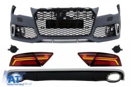 Bara Fata & Difuzor Bara Spate cu Ornamente Evacuare si Stopuri LED compatibil cu AUDI A7 4G (2010-2014) RS7 Design