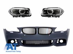 Bara Fata fara Proiectoare M-Technik Design Faruri Full LED Grile Centrale 3 Culori M-Performance Look BMW 5 Series F10 F11 LCI 2015-2017 - COCBBMF10LCIWF3C