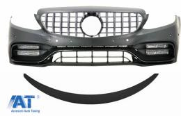 Bara Fata & Grila Crom si Eleron Portbagaj Negru Mat compatibil cu Mercedes C-Class C205 (2014-2018) C63 Design - COCBMBW205FAMGBWOGFG