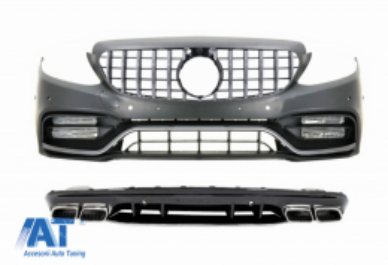 Bara Fata & Grila cu Difuzor si Ornamente Evacuare compatibil cu Mercedes C-Class W205 S205 AMG Sport Line (2014-2020) C63S Design - COCBMBW205C63SFBCCN