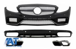 Bara Fata si Difuzor Bara Spate compatibil cu MERCEDES C-Class C205 A205 Coupe Cabriolet (2014-2019) C63S Design Silver Tips - COFBMBW205AMGRD