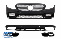 Bara Fata si Difuzor si Ornamente compatibil cu MERCEDES C-Class C205 A205 Coupe Cabriolet (2014-2019) C63S Design Negru - COFBMBW205AMGRDFB
