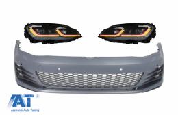 Bara Fata si Faruri LED cu Semnal Dinamic Rosu compatibil cu VW Golf VII 7 5G (2013-2017) GTI Look - COFBVWG7GTIHLFR
