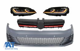 Bara Fata si Faruri LED cu Semnal Dinamic Rosu compatibil cu VW Golf VII 7 5G (2013-2017) GTI Look - COCBVWG7GTIHLFRR