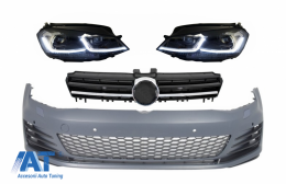 Bara Fata si Faruri LED cu Semnal Dinamic si  Grila Silver compatibil cu VW Golf VII 7 5G (2013-2017) GTI Look - COCBVWG7GTIHLFSC