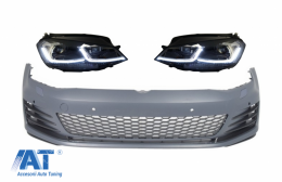 Bara Fata si Faruri LED cu Semnal Dinamic compatibil cu VW Golf VII 7 5G (2013-2017) GTI Look - COFBVWG7GTIHLFS