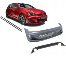 Bara Fata  compatibil cu VW Golf VII 7 2013-2016 GTI Look cu Praguri Laterale si Difuzor Bara Spate - COCBVWG7GTISSRD