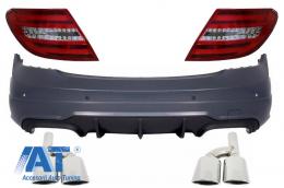 Bara Spate compatibil cu MERCEDES C-Class W204 (11-14) Facelift C63 AMG cu Ornamente de evacuare si Stopuri LED