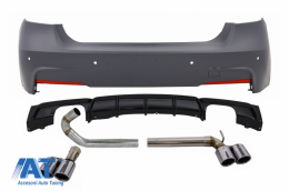 Bara Spate cu Difuzor Evacuare Dubla si Tobe Sistem Evacuare compatibil cu BMW Seria 3 F30 (2011-up) M Performance Design - CORBBMF30MTDOBES