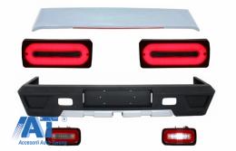 Bara Spate cu Eleron Portbagaj Stopuri Full LED si Lampa Ceata si compatibil cu MERCEDES Benz W463 G-Class (1989-2015) Rosu Semnalizare Dinamica - CORBMBW463AMGLBR