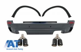 Bara Spate cu Extensii Aripi si Tobe Ornamente Sistem de evacuare Carbon Fiber compatibil cu BMW X5 E70 (2007-2013) M-Design - CORBBME70KLT075