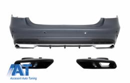 Bara Spate cu Ornamente Tobe Negre compatibil cu MERCEDES Benz W212 E-Class Facelift (2013-up) E63 A-Design - CORBMBW212FAMGTYB