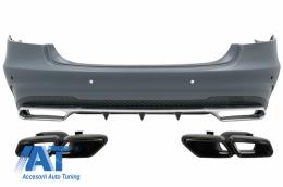 Bara Spate cu Ornamente Tobe Negre compatibil cu Mercedes E-Class W212 Facelift (2013-2016) - CORBMBW212FAMGS63B