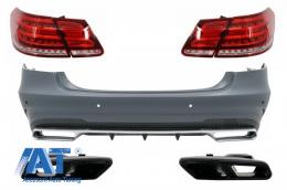 Bara Spate cu Ornamente Tobe Negre si Stopuri LED compatibil cu Mercedes W212 E-Class Facelift (2009-2012) E63 Design - COCBMBW212FAMGTYBTL