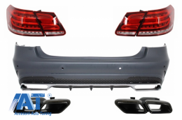 Bara Spate cu Ornamente Tobe Negre si Stopuri LED compatibil cu MERCEDES Benz W212 E-Class Facelift (2009-2012) E63 Design