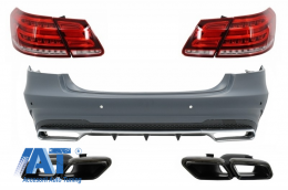 Bara Spate cu Ornamente Tobe Negre si Stopuri LED compatibil cu Mercedes W212 E-Class Facelift (2009-2012) E63 Design - COCBMBW212FAMGTY63BTL