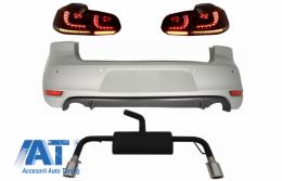 Bara Spate cu Sistem de evacuare si Stopuri FULL LED Semnal Secvential Dinamic compatibil cu VW Golf 6 VI (2008-2012) GTI Look - CORBVWG6GTIESRCFW
