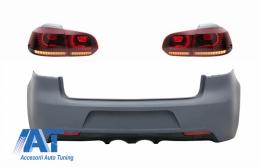 Bara Spate cu Stopuri Full LED compatibil cu VW Golf 6 VI (2008-2013) R20 Design Rosu Fumuriu cu Semnal Dinamic - CORBVWG6R20RSFW
