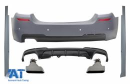 Bara Spate & Praguri Laterale cu Difuzor si Tobe Ornamente Aluminiu compatibil cu BMW Seria 5 F10 (2011-2017) M-Performance Design - COCBBMF10MTRDTYA