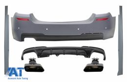 Bara Spate & Praguri Laterale cu Difuzor si Tobe Ornamente Negru compatibil cu BMW Seria 5 F10 (2011-2017) M-Performance Design - COCBBMF10MTRDTYB