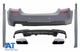 Bara Spate & Praguri Laterale cu Difuzor si Ornamente Tobe Crom compatibil cu BMW Seria 5 F10 (2011-2017) M-Performance Design - COCBBMF10MTRD06