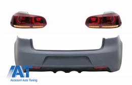 Bara Spate si Stopuri Full LED Rosu Fumuriu compatibil cu VW Golf 6 VI (2008-2013) R20 Look
