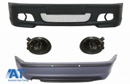 Body Kit Bara fata Bara spate cu PDC compatibil cu BMW Seria 3 E46 4D (1998-2004) + Proiectoare de culoare Fumuriu M-technik Design - COFBBME46MT4DPDC03S