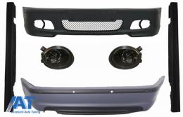 Body Kit Bara fata Bara spate cu PDC compatibil cu BMW Seria 3 E46 4D Praguri Laterale + Proiectoare de culoare fumuriu M-technik Design - COCBBME46MT4DSS03S