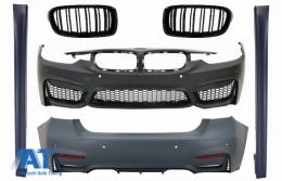 Body Kit compatibil cu BMW seria 3 F30 (2011-2015) F30 LCI (2016+) cu Praguri Laterale si Grile Centrale M3 Sport Design - COCBBMF30M3DWFRBSSFG