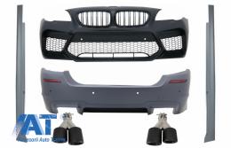 Body Kit compatibil cu BMW Seria 5 F10 (2011-2017) Bara Fata si Bara Spate + Praguri Laterale si Tobe Ornamente Sistem de evacuare Carbon Fiber M5 Design - COFBBMF10M5PWGGJET