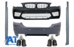 Body Kit compatibil cu BMW Seria 5 F10 (2011-2017) Bara Fata si Bara Spate + Praguri Laterale si Tobe Ornamente Sistem de evacuare Carbon Fiber M5 Design - COFBBMF10M5WGRBKLTP