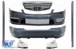 Body Kit compatibil cu MERCEDES S-Class W221 (2005-2012) Bara Fata si Bara spate cu Tobe Ornamente si Praguri laterale S63 S65 Design - COCBMBW221S65MBHRBTY
