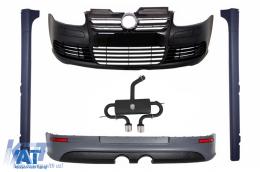 Body Kit compatibil cu VW Golf V Golf 5 (2003-2007) cu Bara Fata Prelungire Bara spate Praguri Laterale si Sistem De Evacuare R32 Black Look - COCBVWG5R32ESB